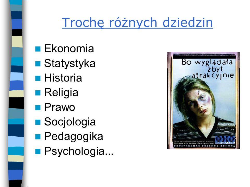 Trochę różnych dziedzin Ekonomia Statystyka Historia Religia Prawo Socjologia Pedagogika Psychologia...