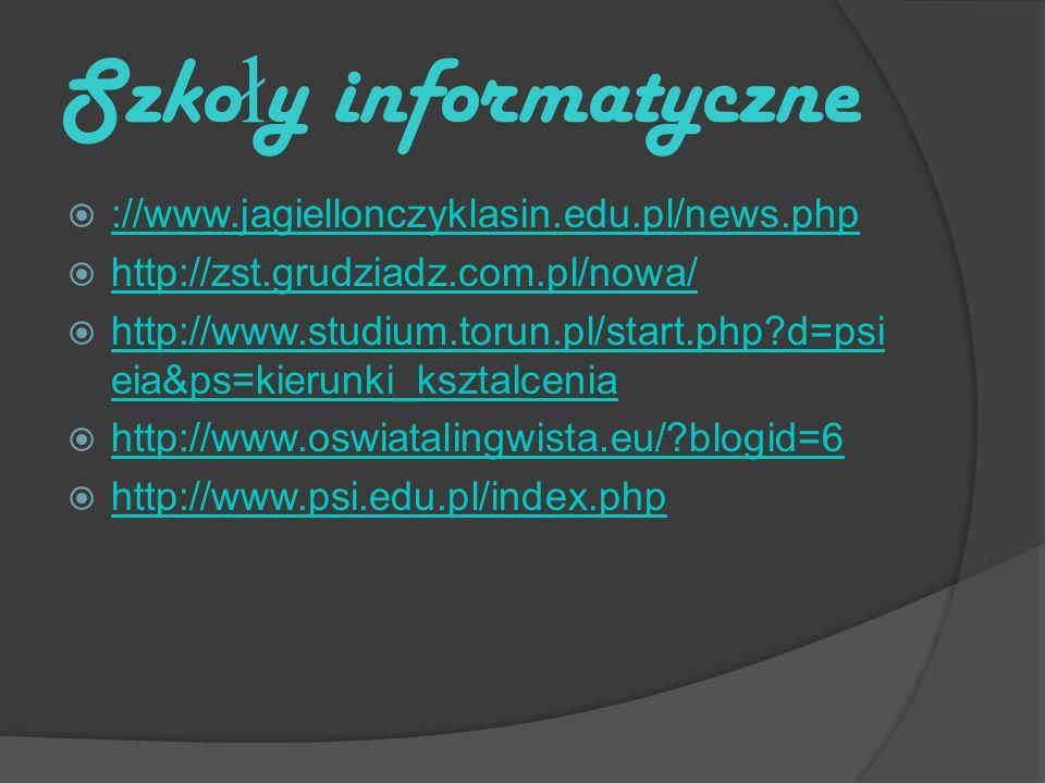 Szko ł y informatyczne ://www.jagiellonczyklasin.edu.pl/news.php http://zst.grudziadz.com.pl/nowa/ http://www.studium.torun.pl/start.php d=psi eia&ps=kierunki_ksztalcenia http://www.studium.torun.pl/start.php d=psi eia&ps=kierunki_ksztalcenia http://www.oswiatalingwista.eu/ blogid=6 http://www.psi.edu.pl/index.php