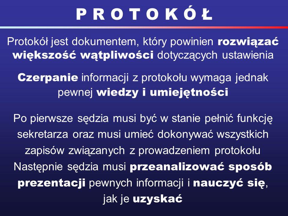 Protokół jest dokumentem, który powinien rozwiązać większość wątpliwości dotyczących ustawienia Czerpanie informacji z protokołu wymaga jednak pewnej