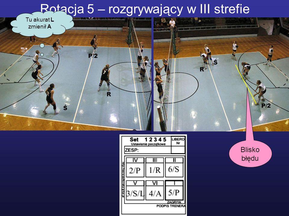 Rotacja 5 – rozgrywający w III strefie Tu akurat L zmienił A R R P/2 Ś Ś Blisko błędu