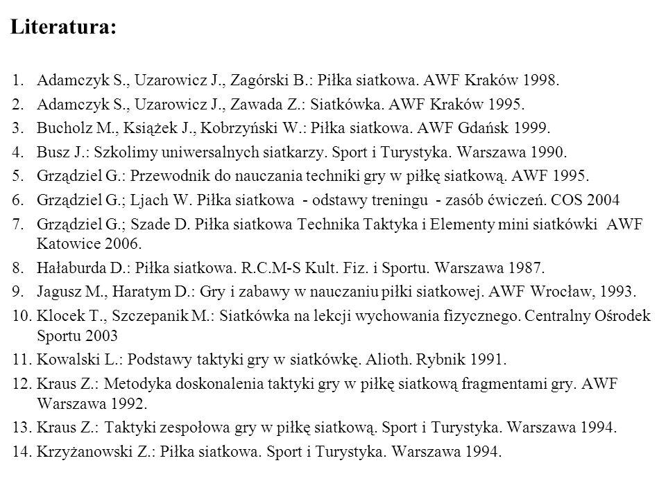 Literatura: 1.Adamczyk S., Uzarowicz J., Zagórski B.: Piłka siatkowa. AWF Kraków 1998. 2.Adamczyk S., Uzarowicz J., Zawada Z.: Siatkówka. AWF Kraków 1