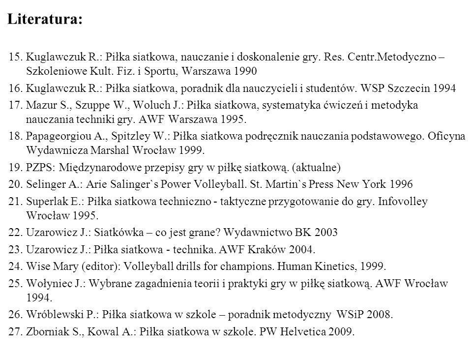 Literatura: 15.Kuglawczuk R.: Piłka siatkowa, nauczanie i doskonalenie gry. Res. Centr.Metodyczno – Szkoleniowe Kult. Fiz. i Sportu, Warszawa 1990 16.