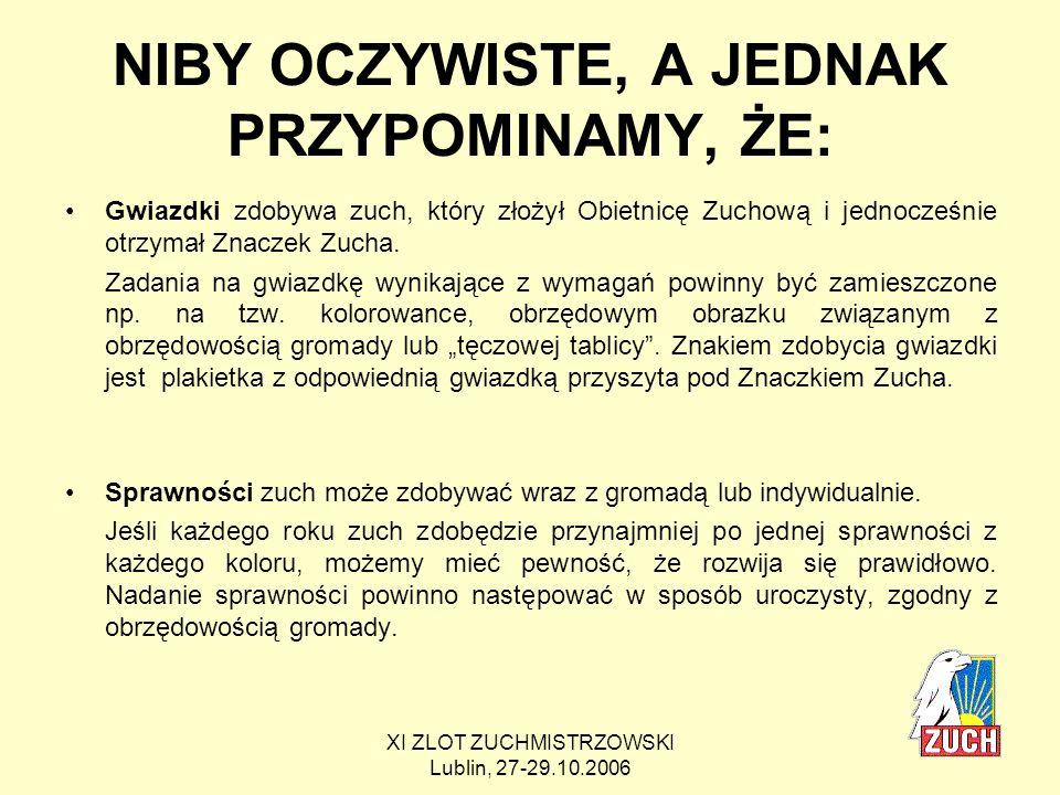 XI ZLOT ZUCHMISTRZOWSKI Lublin, 27-29.10.2006 Przykładowa sprawność