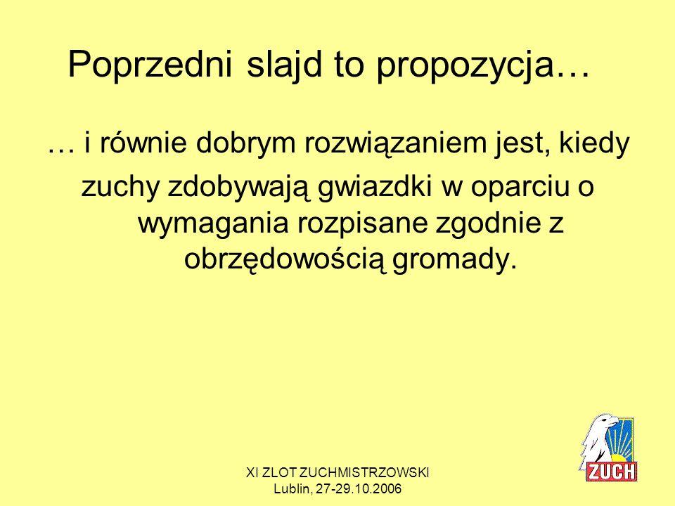 XI ZLOT ZUCHMISTRZOWSKI Lublin, 27-29.10.2006 PROPOZYCJE konkretnych zadań do wymagań na sprawności Sprawność OBSERWATOR, kolor żółty: 1.