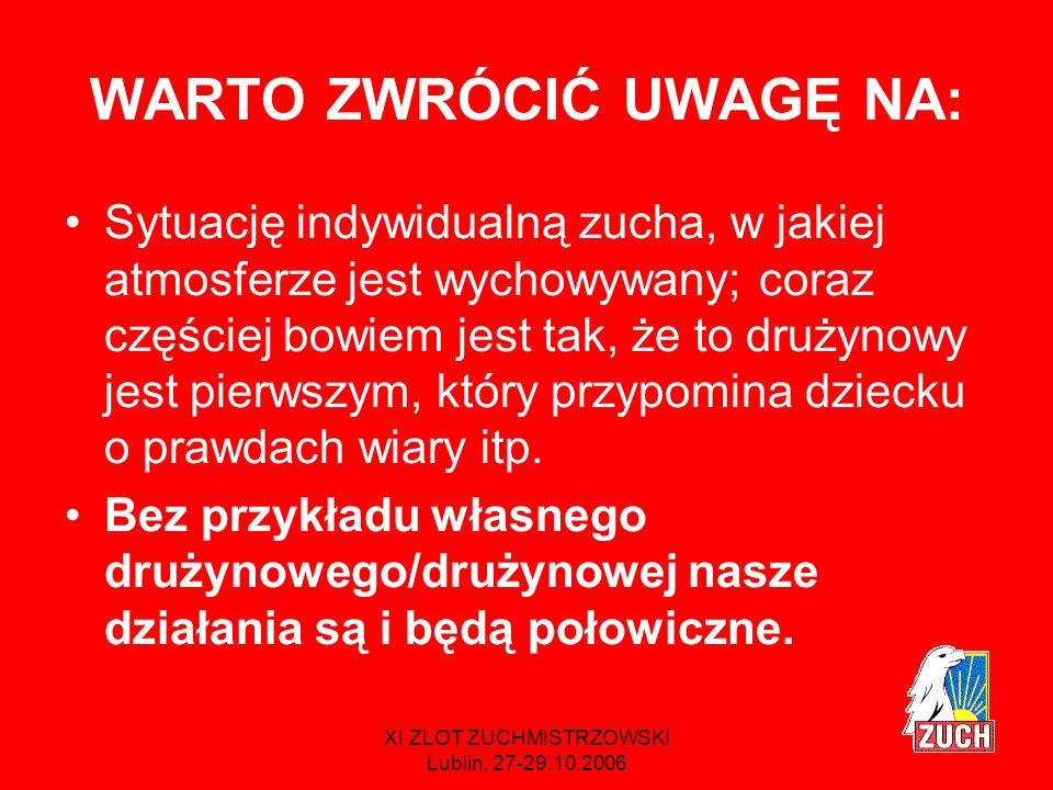 XI ZLOT ZUCHMISTRZOWSKI Lublin, 27-29.10.2006 MODYFIKACJE Słowa rozumie zna sens potrafi stawić czoła trudnej sytuacji w celach i wymaganiach są bardzo poważne, zuchowe rozumienie np.