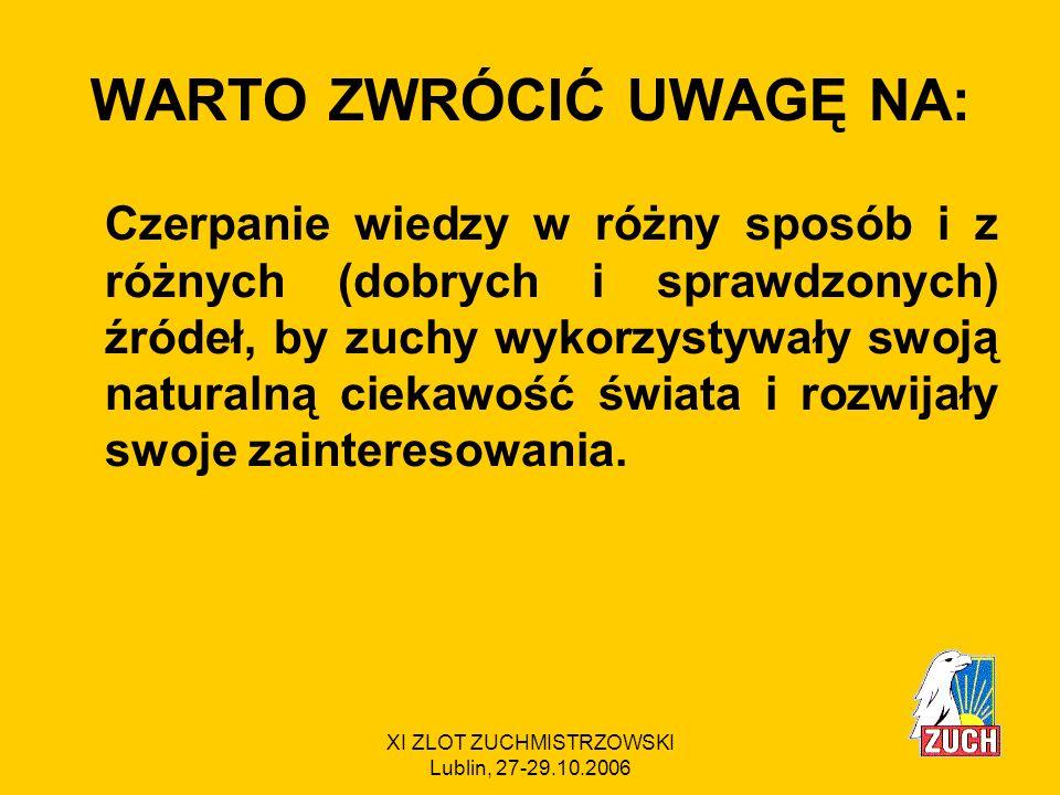 XI ZLOT ZUCHMISTRZOWSKI Lublin, 27-29.10.2006 MODYFIKACJE Sprawność Bajtka została zaktualizowana.
