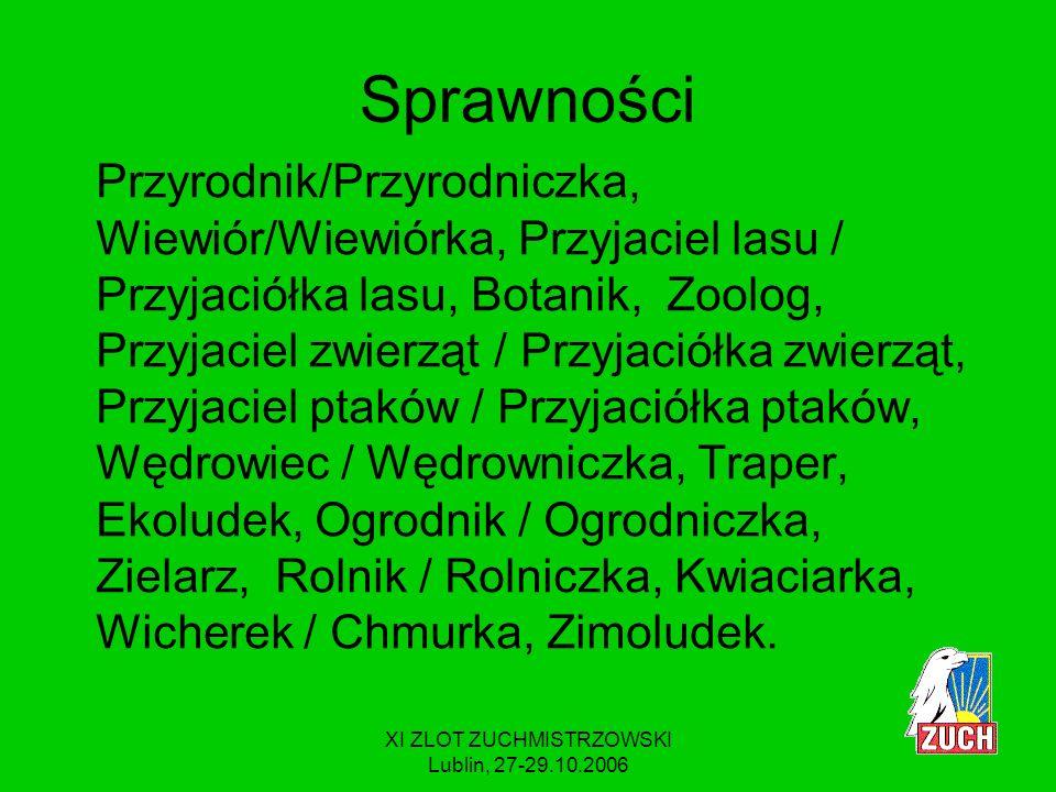 XI ZLOT ZUCHMISTRZOWSKI Lublin, 27-29.10.2006 MODYFIKACJE Ukonkretniliśmy wymagania np.