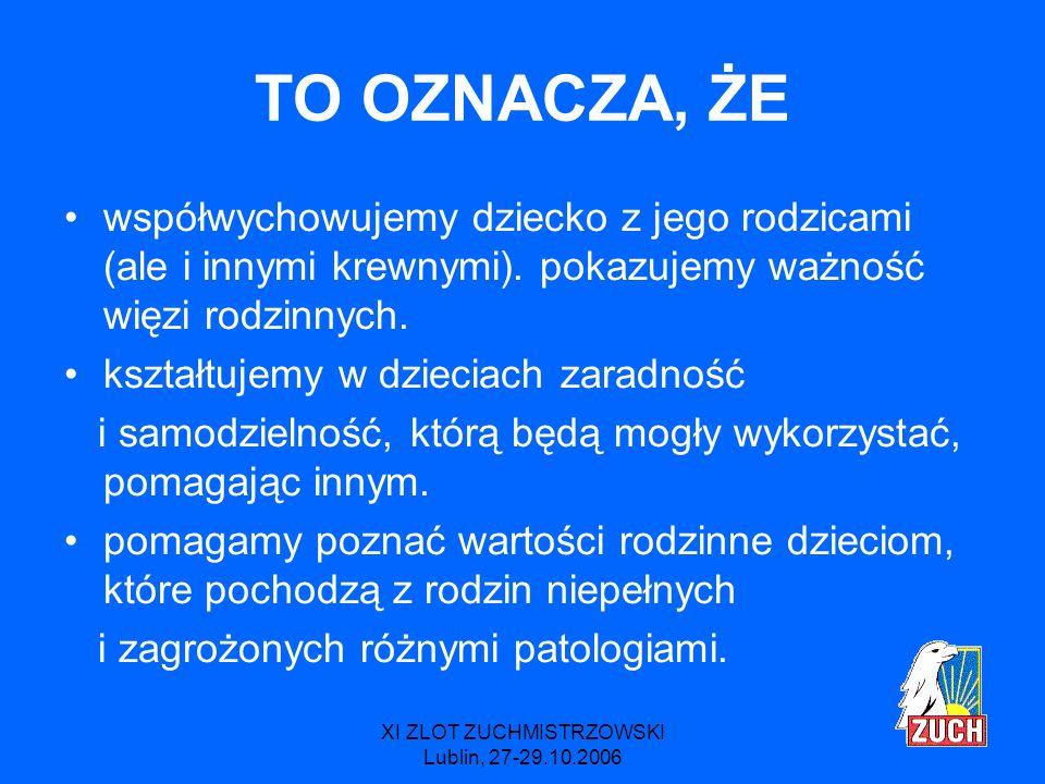 XI ZLOT ZUCHMISTRZOWSKI Lublin, 27-29.10.2006 Gwiazdki * jestem ** pomagam *** troszczę się 3.