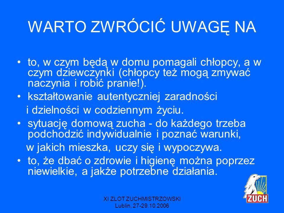 XI ZLOT ZUCHMISTRZOWSKI Lublin, 27-29.10.2006 MODYFIKACJE Z racji tego, że kolor niebieski został poświęcony całkowicie życiu rodzinnemu sprawności sportowe i artystyczne zostały przeniesione do koloru fioletowego.