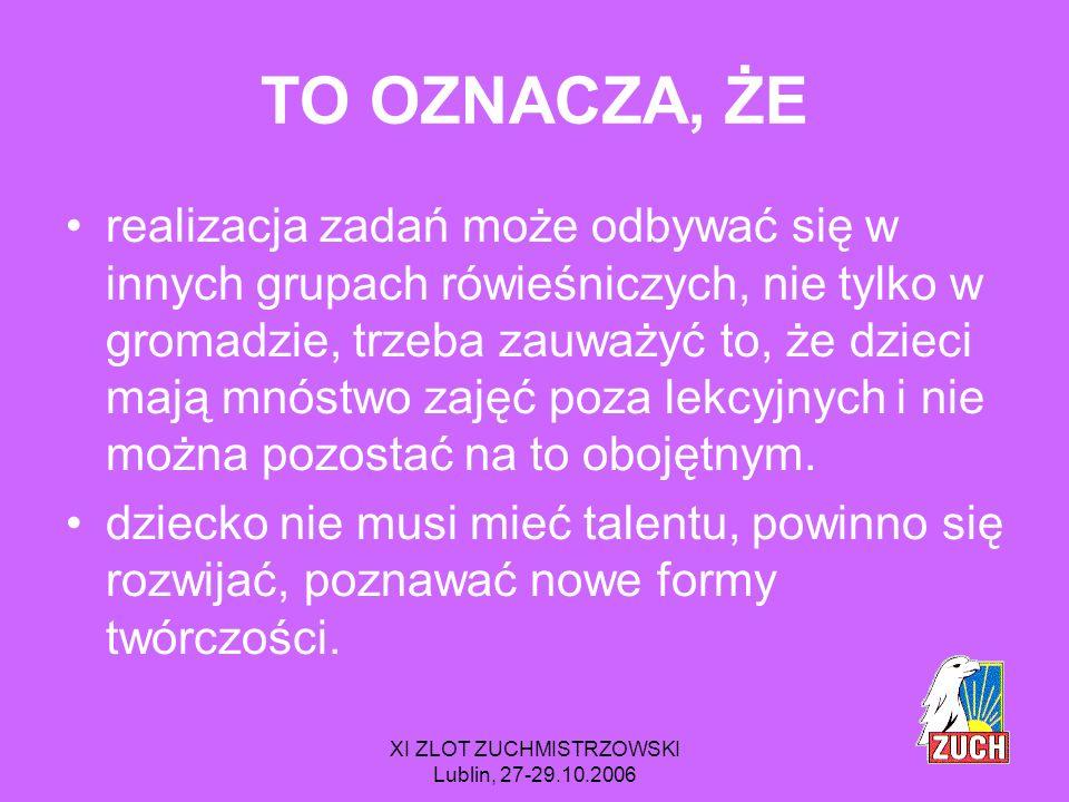 XI ZLOT ZUCHMISTRZOWSKI Lublin, 27-29.10.2006 Gwiazdki * odnajduję się ** współuczestniczę *** staram się pełnić 5.