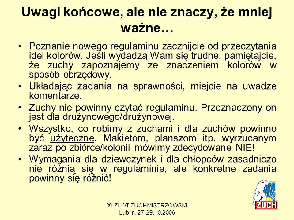 XI ZLOT ZUCHMISTRZOWSKI Lublin, 27-29.10.2006 Co będzie się działo w najbliższym czasie.