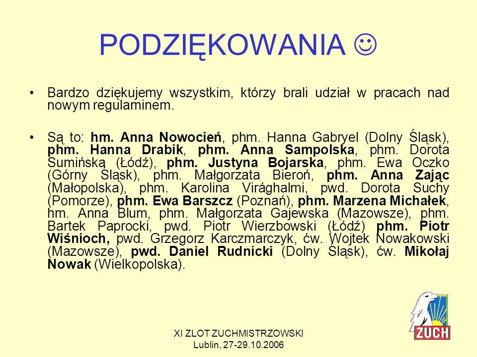 XI ZLOT ZUCHMISTRZOWSKI Lublin, 27-29.10.2006 Projekt został zaopiniowany przez: pedagoga wczesnoszkolnego (hm.