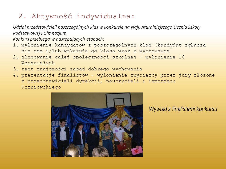 2. Aktywność indywidualna: Udział przedstawicieli poszczególnych klas w konkursie na Najkulturalniejszego Ucznia Szkoły Podstawowej i Gimnazjum. Konku