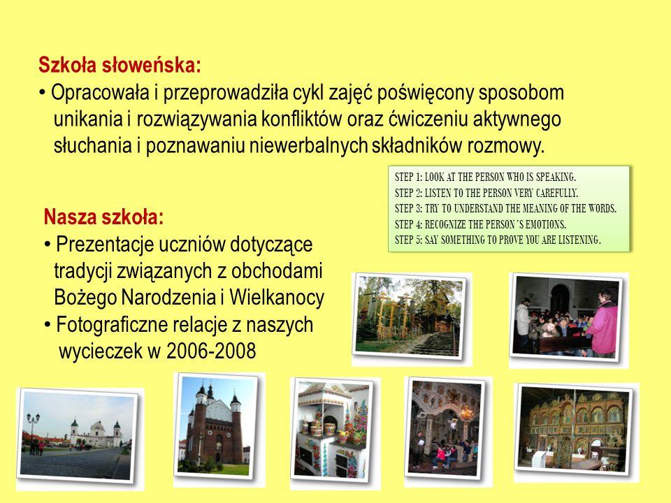 Szkoła słoweńska: Opracowała i przeprowadziła cykl zajęć poświęcony sposobom unikania i rozwiązywania konfliktów oraz ćwiczeniu aktywnego słuchania i poznawaniu niewerbalnych składników rozmowy.
