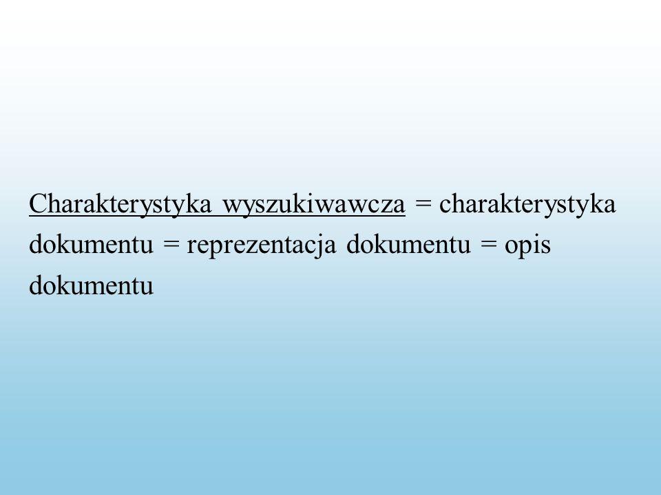 Instrukcja wyszukiwawcza = charakterystyka pytania = reprezentacja pytania