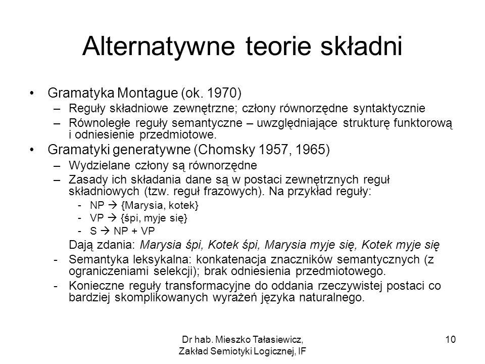 Dr hab. Mieszko Tałasiewicz, Zakład Semiotyki Logicznej, IF 10 Alternatywne teorie składni Gramatyka Montague (ok. 1970) –Reguły składniowe zewnętrzne
