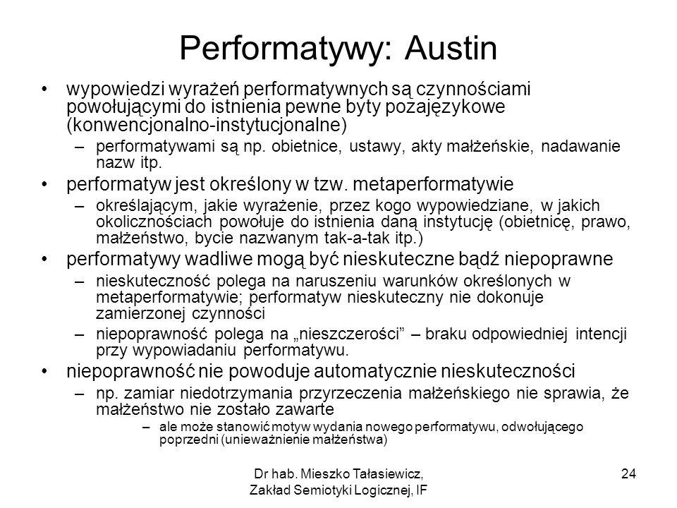 Dr hab. Mieszko Tałasiewicz, Zakład Semiotyki Logicznej, IF 24 Performatywy: Austin wypowiedzi wyrażeń performatywnych są czynnościami powołującymi do