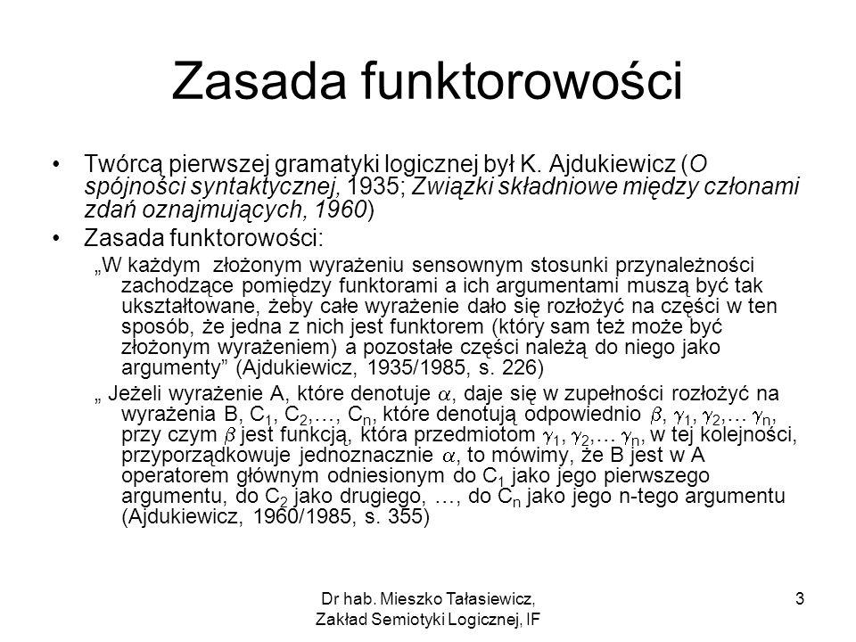 Dr hab. Mieszko Tałasiewicz, Zakład Semiotyki Logicznej, IF 3 Zasada funktorowości Twórcą pierwszej gramatyki logicznej był K. Ajdukiewicz (O spójnośc