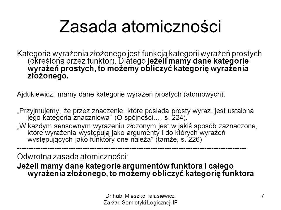 Dr hab. Mieszko Tałasiewicz, Zakład Semiotyki Logicznej, IF 7 Zasada atomiczności Kategoria wyrażenia złożonego jest funkcją kategorii wyrażeń prostyc