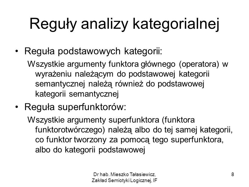Dr hab. Mieszko Tałasiewicz, Zakład Semiotyki Logicznej, IF 8 Reguły analizy kategorialnej Reguła podstawowych kategorii: Wszystkie argumenty funktora