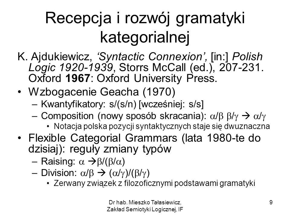 Dr hab. Mieszko Tałasiewicz, Zakład Semiotyki Logicznej, IF 9 Recepcja i rozwój gramatyki kategorialnej K. Ajdukiewicz, Syntactic Connexion, [in:] Pol