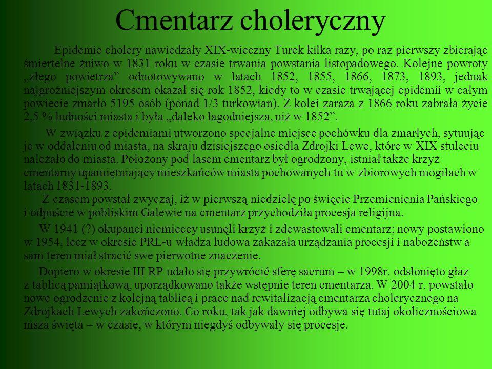Cmentarz choleryczny Epidemie cholery nawiedzały XIX-wieczny Turek kilka razy, po raz pierwszy zbierając śmiertelne żniwo w 1831 roku w czasie trwania