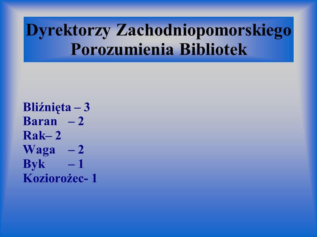 Dyrektorzy Zachodniopomorskiego Porozumienia Bibliotek Bliźnięta – 3 Baran– 2 Rak– 2 Waga– 2 Byk– 1 Koziorożec- 1