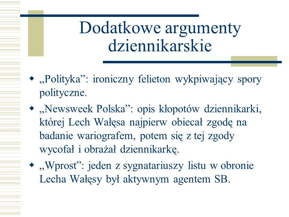 Dodatkowe argumenty dziennikarskie Polityka: ironiczny felieton wykpiwający spory polityczne. Newsweek Polska: opis kłopotów dziennikarki, której Lech