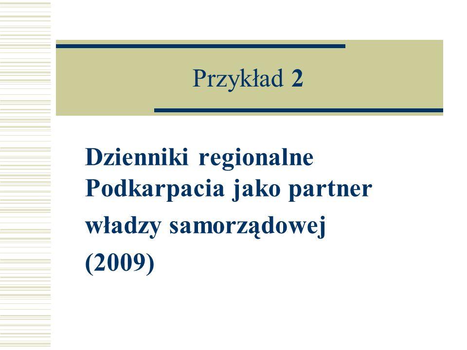 Przykład 2 Dzienniki regionalne Podkarpacia jako partner władzy samorządowej (2009)
