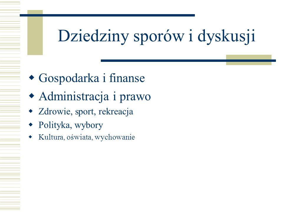 Gospodarka i finanse Administracja i prawo Zdrowie, sport, rekreacja Polityka, wybory Kultura, oświata, wychowanie Dziedziny sporów i dyskusji