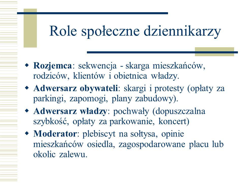 Role społeczne dziennikarzy Rozjemca: sekwencja - skarga mieszkańców, rodziców, klientów i obietnica władzy. Adwersarz obywateli: skargi i protesty (o