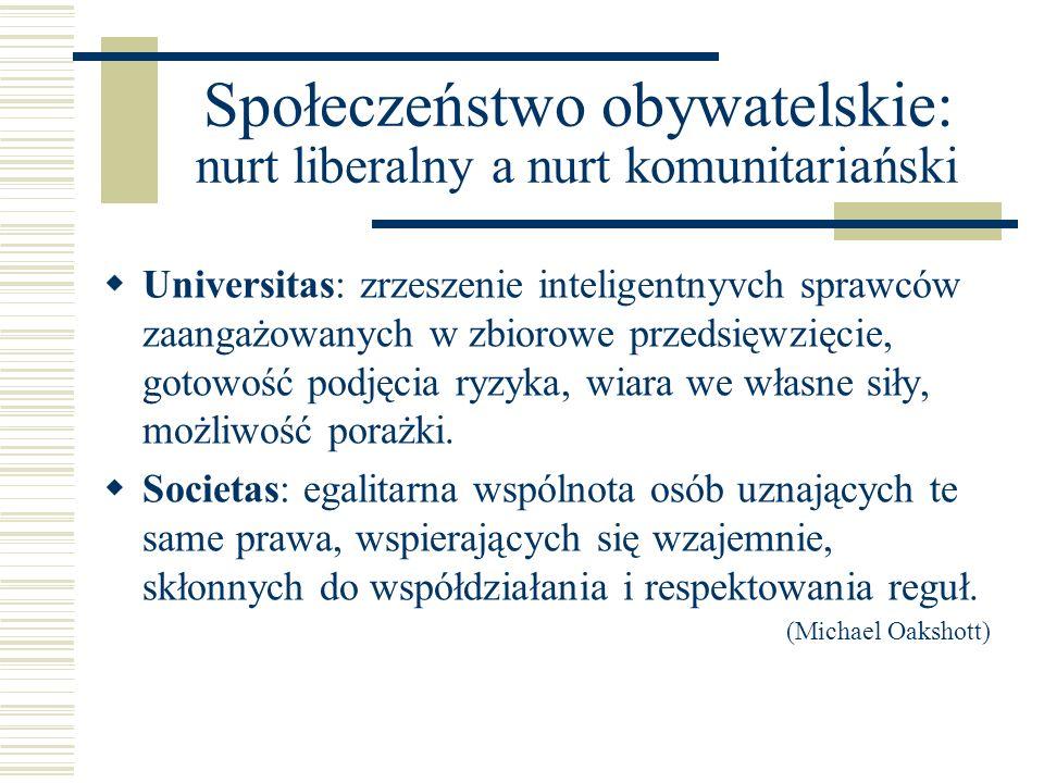 Społeczeństwo obywatelskie: nurt liberalny a nurt komunitariański Universitas: zrzeszenie inteligentnyvch sprawców zaangażowanych w zbiorowe przedsięw