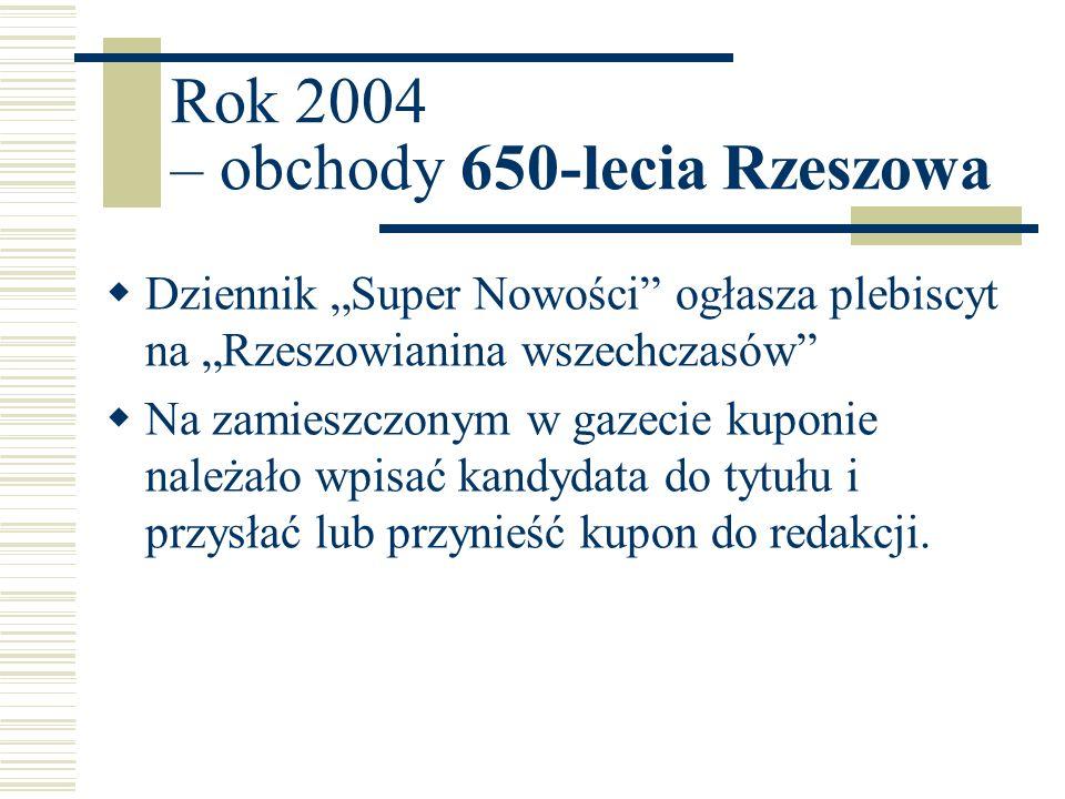 Rok 2004 – obchody 650-lecia Rzeszowa Dziennik Super Nowości ogłasza plebiscyt na Rzeszowianina wszechczasów Na zamieszczonym w gazecie kuponie należa