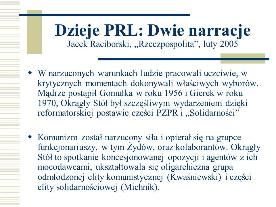 Dzieje PRL: Dwie narracje Jacek Raciborski, Rzeczpospolita, luty 2005 W narzuconych warunkach ludzie pracowali uczciwie, w krytycznych momentach dokon