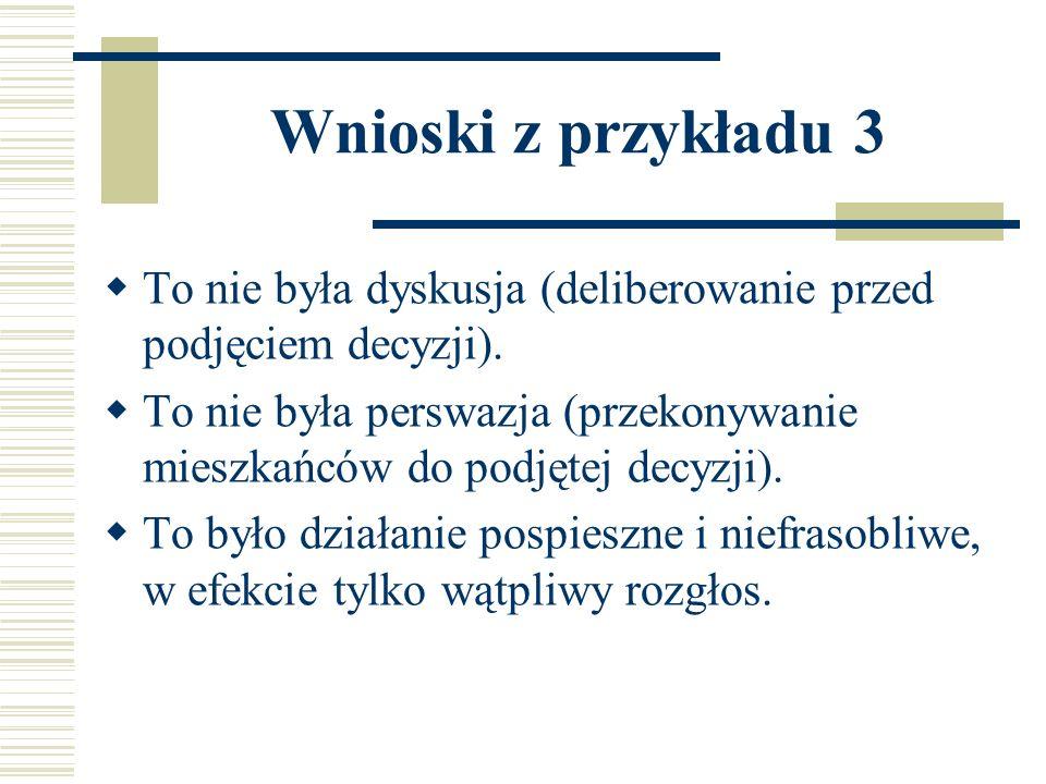 Wnioski z przykładu 3 To nie była dyskusja (deliberowanie przed podjęciem decyzji). To nie była perswazja (przekonywanie mieszkańców do podjętej decyz