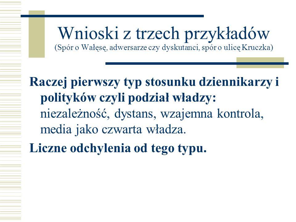 Wnioski z trzech przykładów (Spór o Wałęsę, adwersarze czy dyskutanci, spór o ulicę Kruczka) Raczej pierwszy typ stosunku dziennikarzy i polityków czy