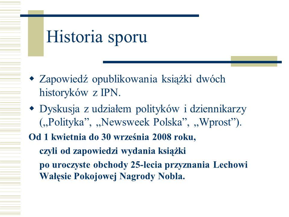 Historia sporu Zapowiedź opublikowania książki dwóch historyków z IPN. Dyskusja z udziałem polityków i dziennikarzy (Polityka, Newsweek Polska, Wprost
