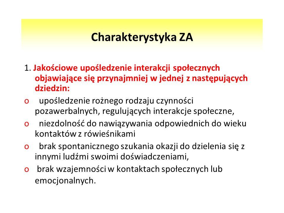 Charakterystyka ZA 1. Jakościowe upośledzenie interakcji społecznych objawiające się przynajmniej w jednej z następujących dziedzin: o upośledzenie ro