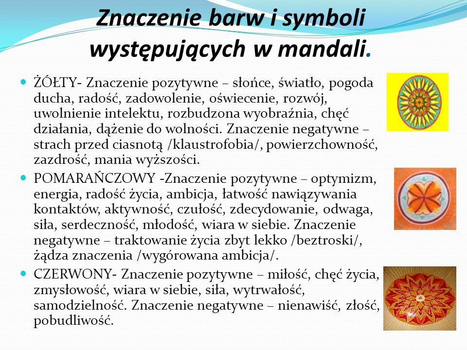 Znaczenie barw i symboli występujących w mandali.