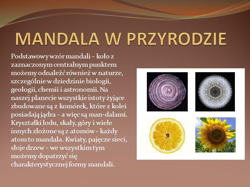 Podstawowy wzór mandali - koło z zaznaczonym centralnym punktem możemy odnaleźć również w naturze, szczególnie w dziedzinie biologii, geologii, chemii i astronomii.