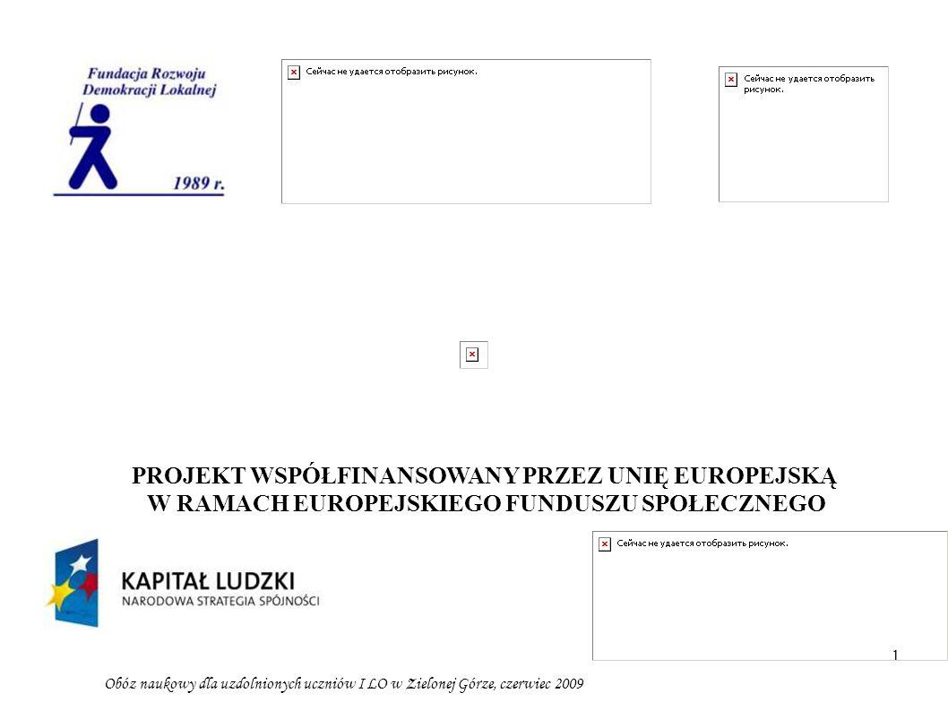 1 Obóz naukowy dla uzdolnionych uczniów I LO w Zielonej Górze, czerwiec 2009 PROJEKT WSPÓŁFINANSOWANY PRZEZ UNIĘ EUROPEJSKĄ W RAMACH EUROPEJSKIEGO FUN
