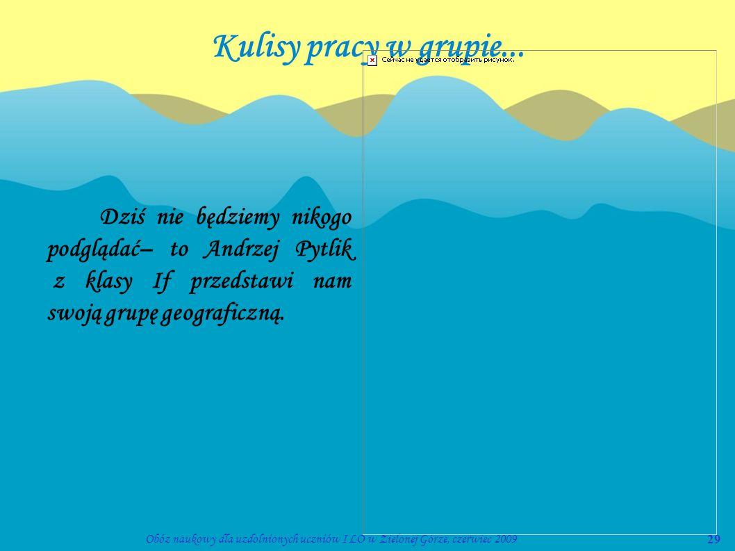 29Obóz naukowy dla uzdolnionych uczniów I LO w Zielonej Górze, czerwiec 2009 Kulisy pracy w grupie... Dziś nie będziemy nikogo podglądać– to Andrzej P