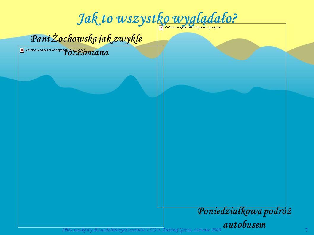 7Obóz naukowy dla uzdolnionych uczniów I LO w Zielonej Górze, czerwiec 2009 Pani Żochowska jak zwykle roześmiana Poniedziałkowa podróż autobusem Jak t