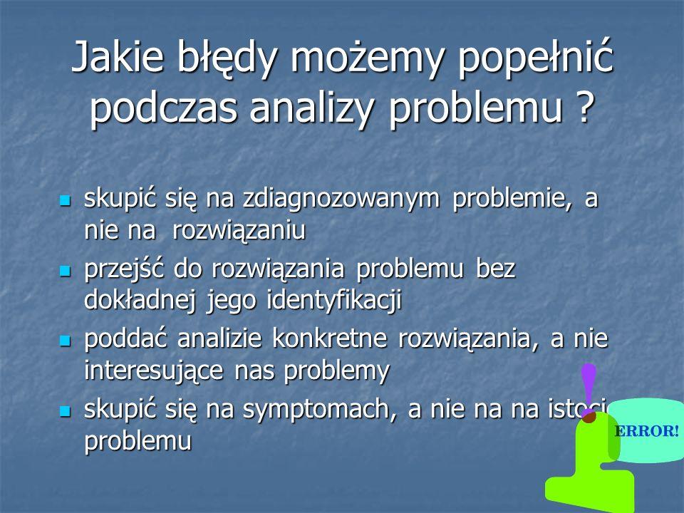 Jakie błędy możemy popełnić podczas analizy problemu ? skupić się na zdiagnozowanym problemie, a nie na rozwiązaniu skupić się na zdiagnozowanym probl