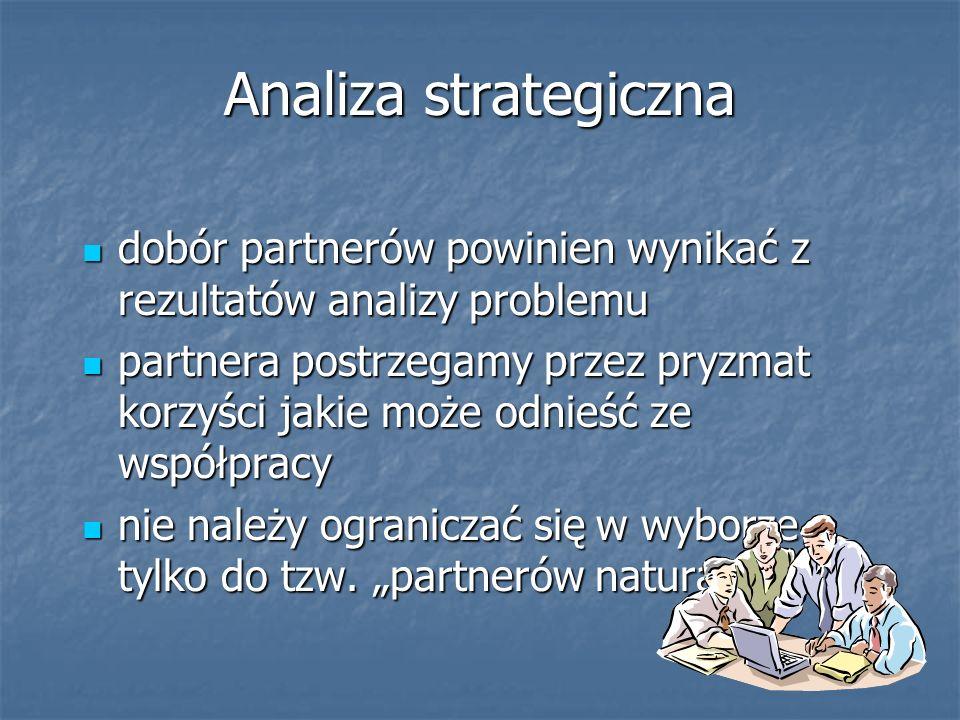 Analiza strategiczna dobór partnerów powinien wynikać z rezultatów analizy problemu dobór partnerów powinien wynikać z rezultatów analizy problemu par