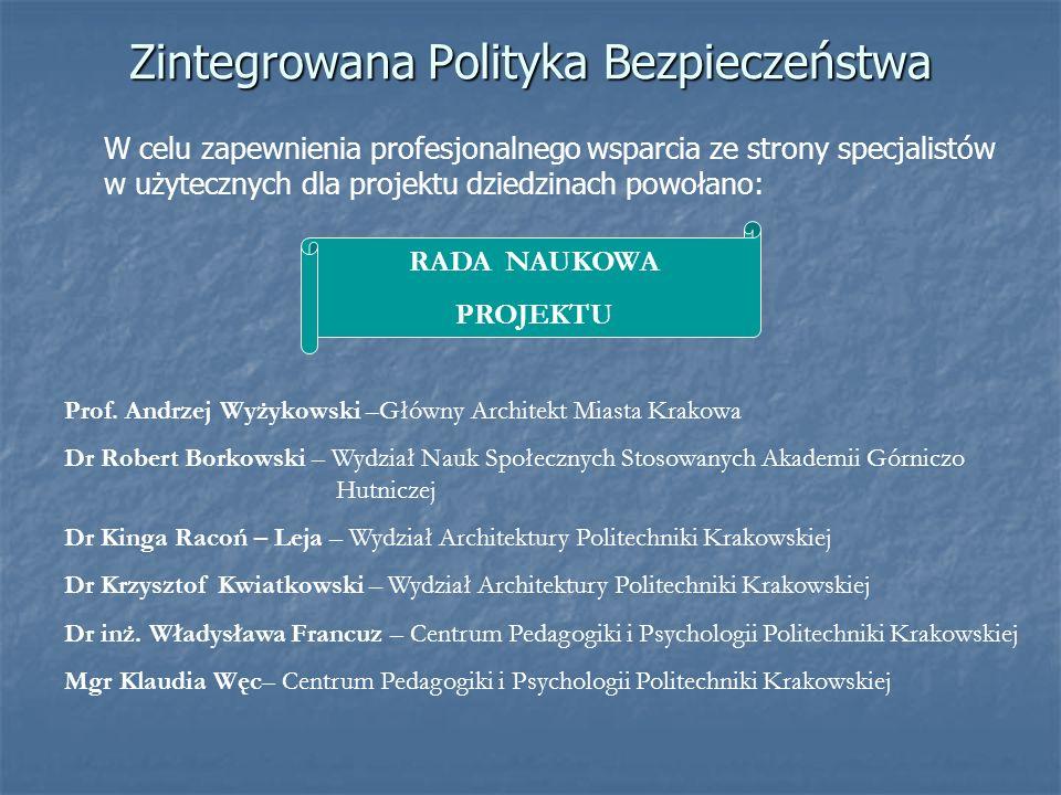Zintegrowana Polityka Bezpieczeństwa RADA NAUKOWA PROJEKTU W celu zapewnienia profesjonalnego wsparcia ze strony specjalistów w użytecznych dla projek