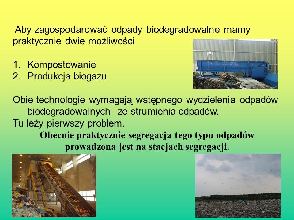16 Aby zagospodarować odpady biodegradowalne mamy praktycznie dwie możliwości 1.Kompostowanie 2.Produkcja biogazu Obie technologie wymagają wstępnego