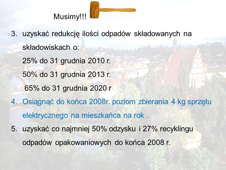 4 Musimy!!! 3.uzyskać redukcję ilości odpadów składowanych na składowiskach o: 25% do 31 grudnia 2010 r. 50% do 31 grudnia 2013 r. 65% do 31 grudnia 2