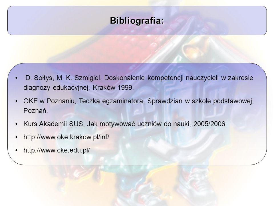 Bibliografia: D. Sołtys, M. K. Szmigiel, Doskonalenie kompetencji nauczycieli w zakresie diagnozy edukacyjnej, Kraków 1999. OKE w Poznaniu, Teczka egz