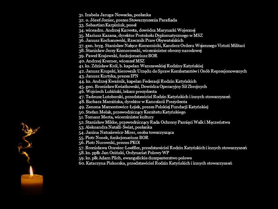Cześć Ich pamięci!... 1. Lech Kaczyński, prezydent 2. Maria Kaczyńska, małżonka prezydenta RP 3. Ryszard Kaczorowski, były prezydent RP 4. Joanna Agac
